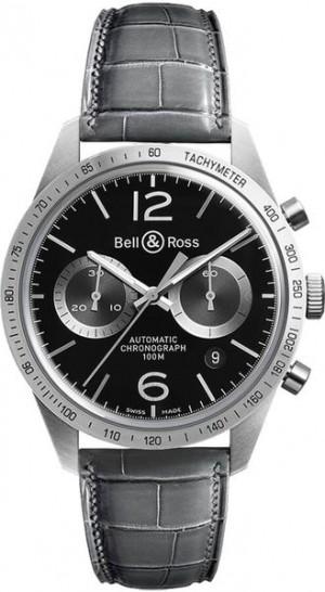 Bell & Ross Vintage Grey Leather Strap Men's Watch BRV126-BS-ST/SCR2
