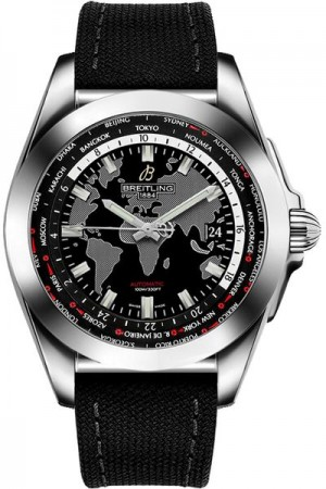 Breitling Galactic Unitime Black Canvas Men's Watch WB3510U4/BD94-103W