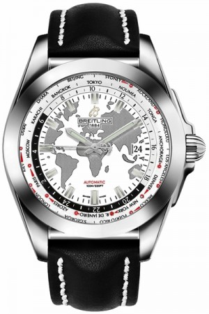 Breitling Galactic Unitime World Map White Dial Men's Watch WB3510U0/A777-435X
