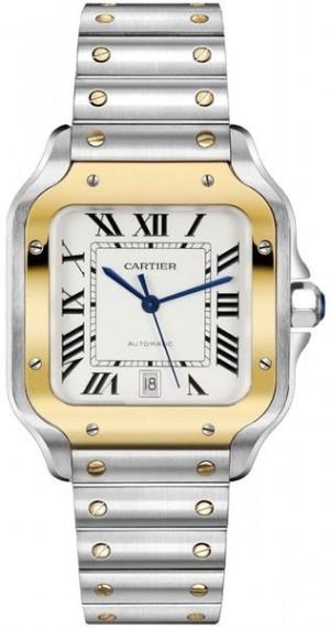 Cartier Santos De Cartier Medium Gold & Steel Men's Watch W2SA0007