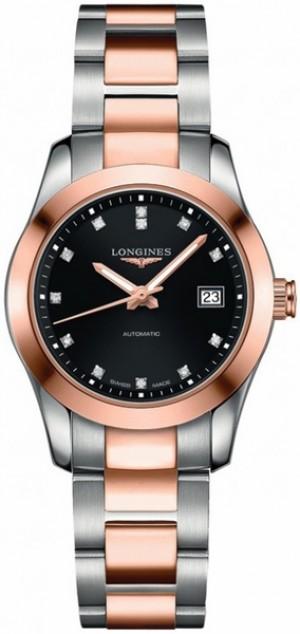Longines Conquest Classic Black & Diamond Dial Women's Luxury Watch L2.285.5.58.7