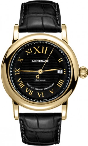 MontBlanc Star Black Dial Solid 18k Gold Men's Luxury Watch 103093