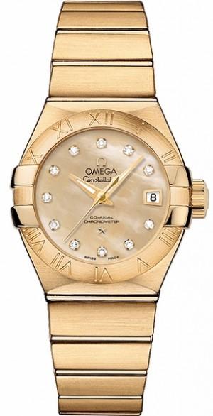 Omega Constellation Solid 18k Gold Luxury Women's Watch 123.50.27.20.57.002