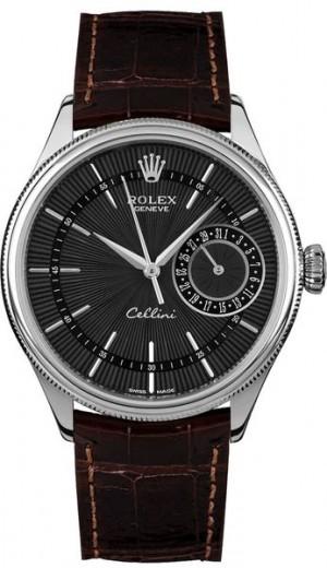 Rolex Cellini Date Domed & Fluted Double Bezel Men's Watch 50519