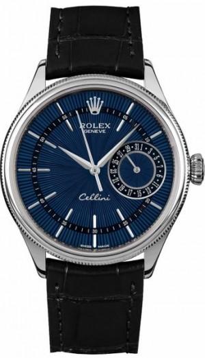 Rolex Cellini Date Blue Dial Black Leather Strap Men's Watch 50519