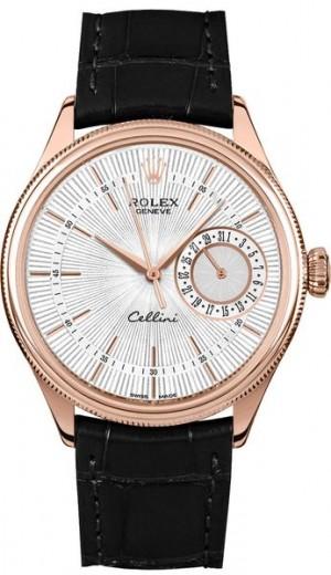 Rolex Cellini Date Silver Guilloche Dial Men's Watch 50515