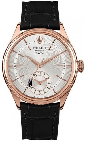 Rolex Cellini Dual Time Double Bezel Men's Watch 50525