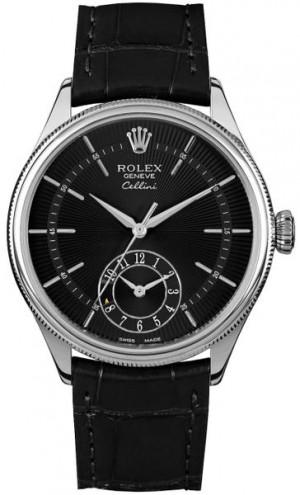 Rolex Cellini Dual Time Black Dial Men's Watch 50529