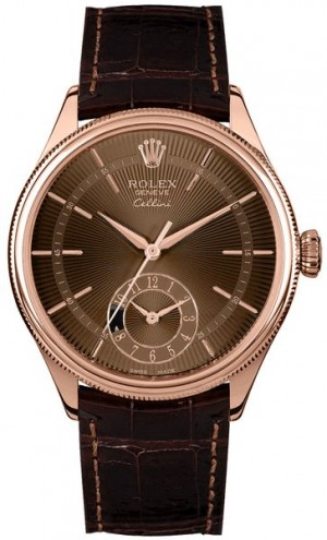 Rolex Cellini Dual Time Brown Guilloche Dial Men's Watch 50525