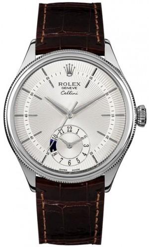 Rolex Cellini Dual Time Silver Dial Brown Strap Men's Watch 50529