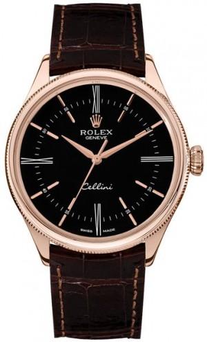 Rolex Cellini Time Black Dial Double Bezel Men's Watch 50505