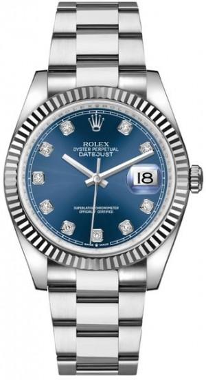 Rolex Datejust 36 Blue Dial Set with Diamonds Luxury Watch 126234