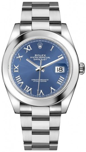 Rolex Datejust 41 Blue Roman Numeral Dial Men's Watch 126300