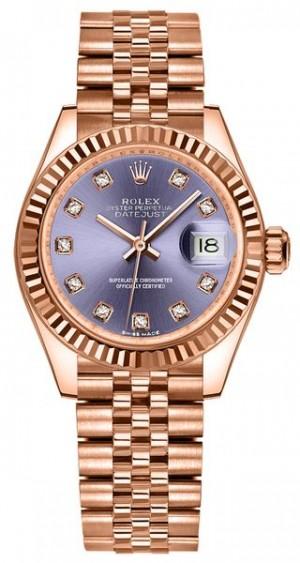 Rolex Lady-Datejust 28 Rose Gold Jubilee Bracelet Women's Watch 279175