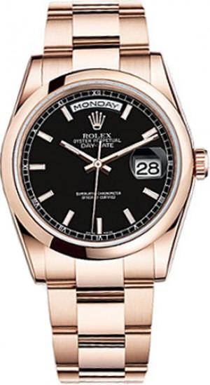 Rolex Day-Date 36 Black Dial Rose Gold Men's Watch 118205