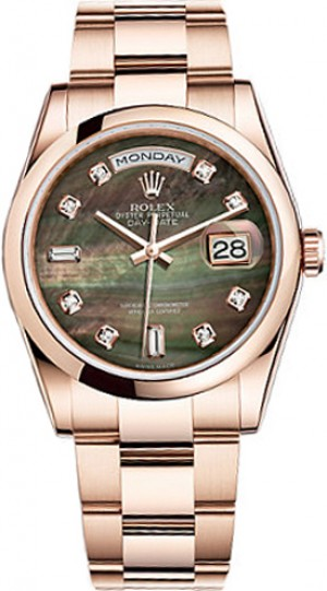 Rolex Day-Date 36 Black Mother of Pearl Gold Watch 118205