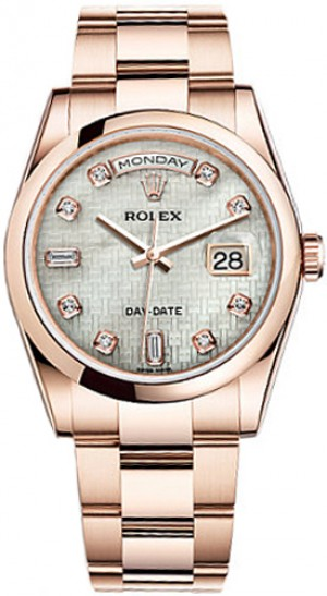 Rolex Day-Date 36 Mother of Pearl Diamond Dial Watch 118205