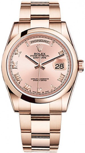Rolex Day-Date 36 Pink Dial Gold Watch 118205