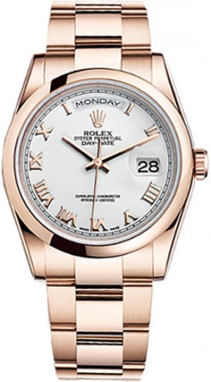 Rolex Day-Date 36 White Roman Numeral Gold Watch 118205