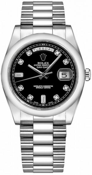 Rolex Day-Date 36 Black Diamond Platinum Watch 118206