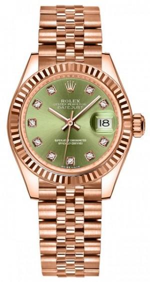 Rolex Lady-Datejust 28 Green Dial Fluted Bezel Women's Watch 279175