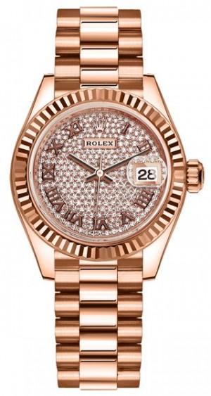 Rolex Lady-Datejust 28 Diamond-Paved Dial Women's Watch 279175