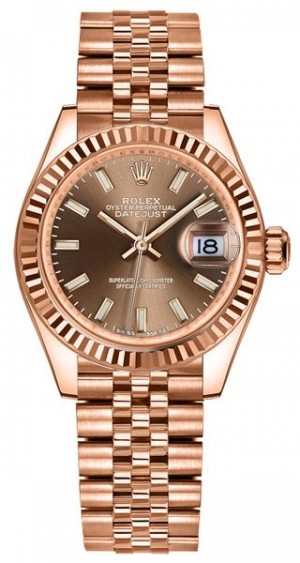 Rolex Lady-Datejust 28 Chocolate Dial Rose Gold Women's Watch 279175