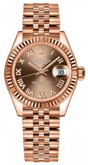 Rolex Lady-Datejust 28 Chocolate Jubilee Bracelet Women's Watch 279175