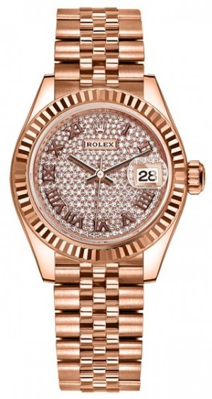 Rolex Lady-Datejust 28 Rose Gold Diamond Pave Women's Watch 279175