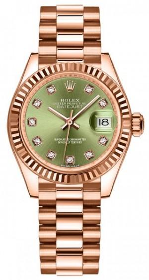 Rolex Lady-Datejust 28 Olive Green Diamonds Women's Watch 279175