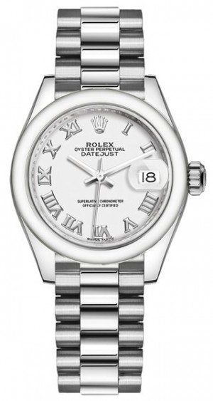 Rolex Lady-Datejust 28 White Roman Numeral Dial Women's Watch 279166
