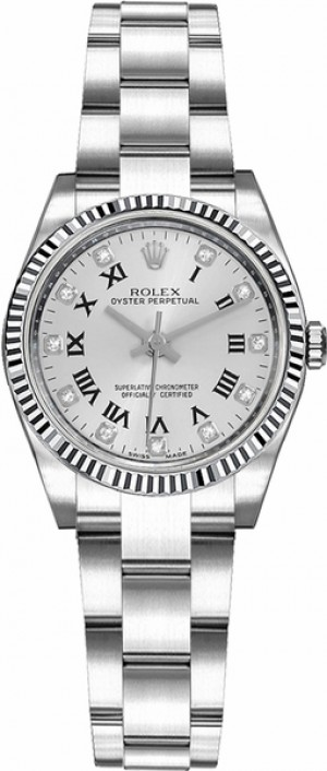 Rolex Oyster Perpetual 26 Fluted White Gold Bezel Watch 176234