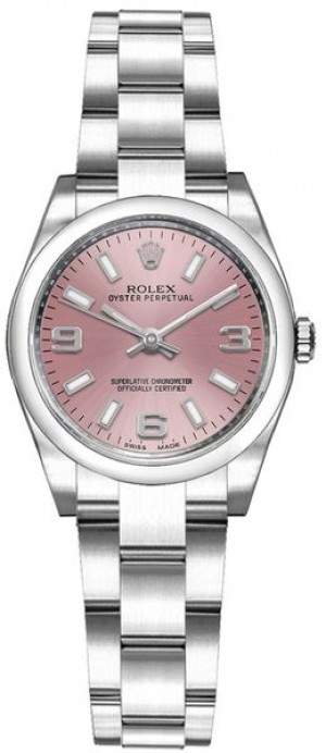 Rolex Oyster Perpetual 26 Pink Dial Domed Bezel Watch 176200