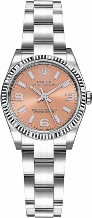 Rolex Oyster Perpetual 26 Pink Dial Fluted Bezel Watch 176234