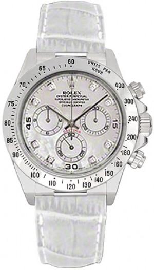 Rolex Cosmograph Daytona White Leather Strap Watch 116519