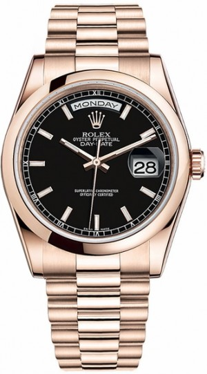 Rolex Day-Date 36 Black Dial Rose Gold Watch 118205