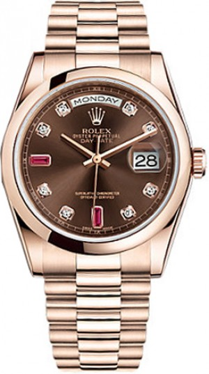 Rolex Day-Date 36 Solid 18K Rose Gold Watch 118205