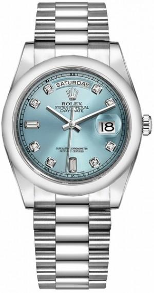 Rolex Day-Date 36 Ice Blue Diamond Platinum Men's Watch 118206
