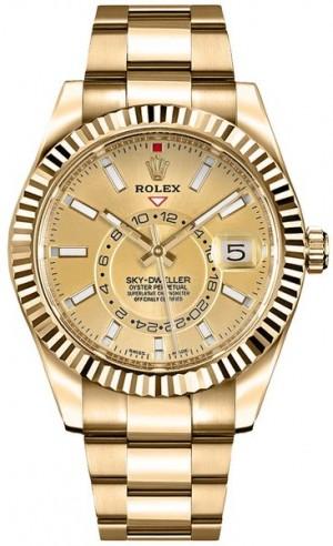 Rolex Sky-Dweller Champagne Dial Gold Men's Watch 326938
