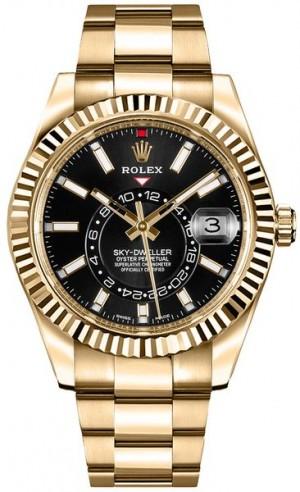 Rolex Sky-Dweller Yellow Gold Men's Black Dial Watch 326938