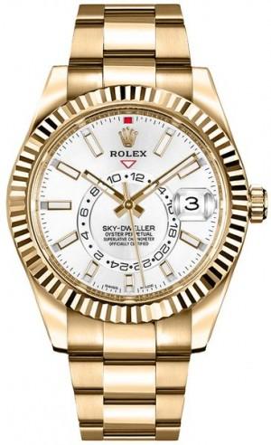 Rolex Sky-Dweller Gold Men's White Dial Watch 326938