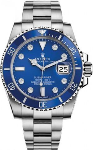 Rolex Submariner Date Blue Diamond Mens Watch 116619