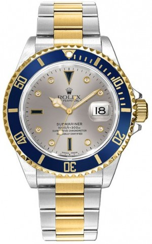 Rolex Submariner Date Diamond Sapphire Serti Men's Watch 16613