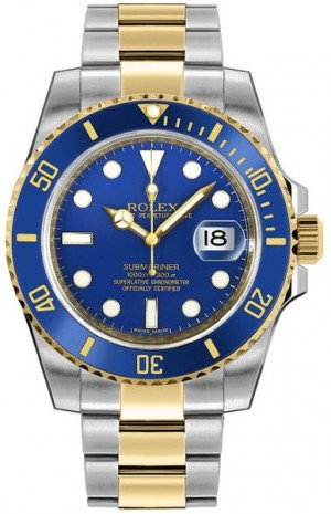 Rolex Submariner Date Two Tone Blue Dial Men's Watch 116613LB